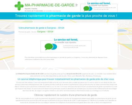 Votre pharmacie de garde à Savignac - 33124