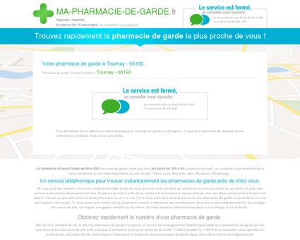 Votre pharmacie de garde à Tournay - 65190