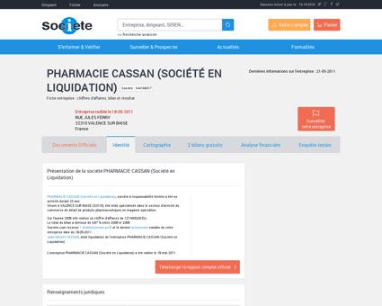 PHARMACIE CASSAN (Société en Liquidation)...