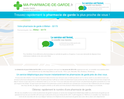 Votre pharmacie de garde à Miélan - 32170