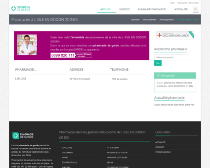 Pharmacie de garde L ISLE EN DODON (31230)