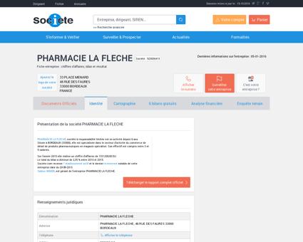 PHARMACIE LA FLECHE (BORDEAUX) Chiffre...