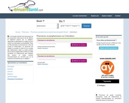 Pharmacies à Colombiers et Parapharmacies