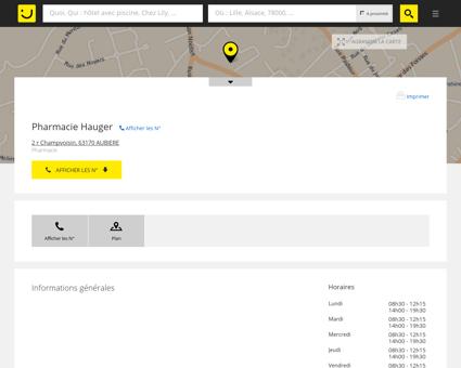 Pharmacie Hauger Aubière (adresse, horaires)