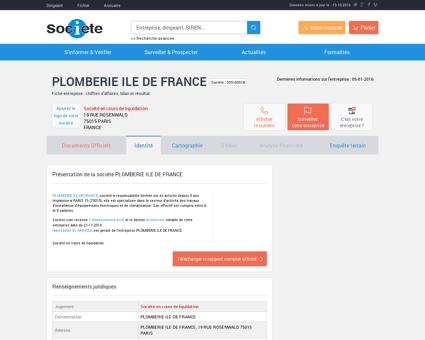 PLOMBERIE ILE DE FRANCE (PARIS 15) Chiffre...