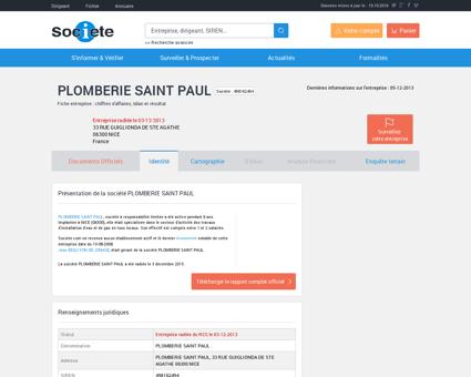 PLOMBERIE SAINT PAUL (NICE) Chiffre...