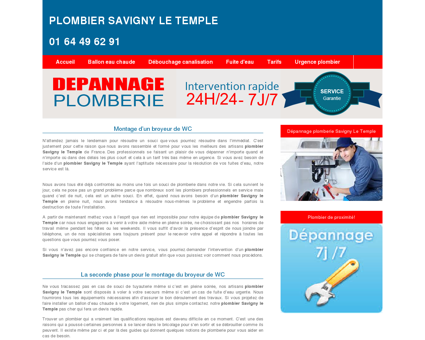 Plombier Savigny Le Temple : 01 64 49 62 91...