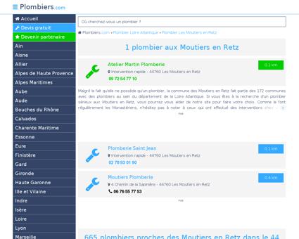 Plombier Les Moutiers en Retz : Avis, Devis...