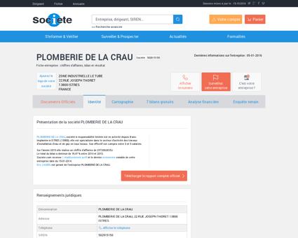 PLOMBERIE DE LA CRAU (ISTRES) Chiffre...