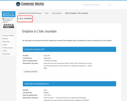 Les offres d'emploi à L'Isle Jourdain (32600)