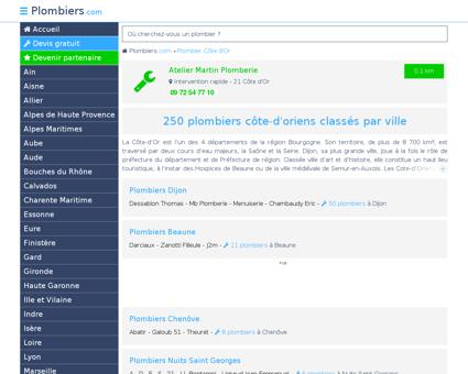 Plombier Côte d'Or : 250 plombiers dans le...