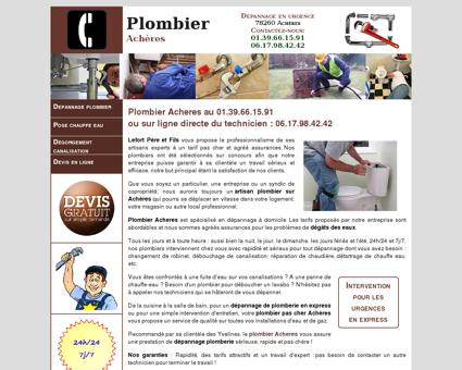 Plombier Acheres - Urgence au 01.39.66.15.91