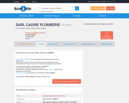SARL CAGIRE PLOMBERIE (ASPET) Chiffre...