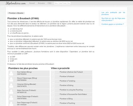 Plombier à Bousbach (57460)