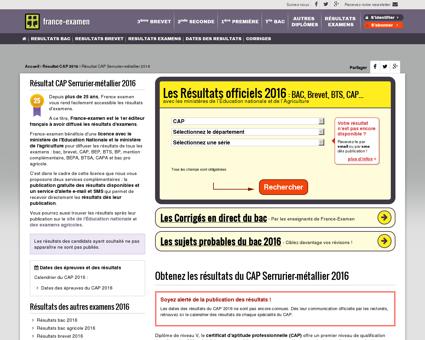 Résultat CAP Serrurier-métallier 2016 - France...