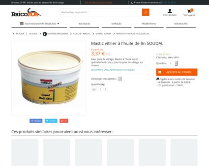 Mastic vitrier à l'huile de lin SOUDAL | Bricozor