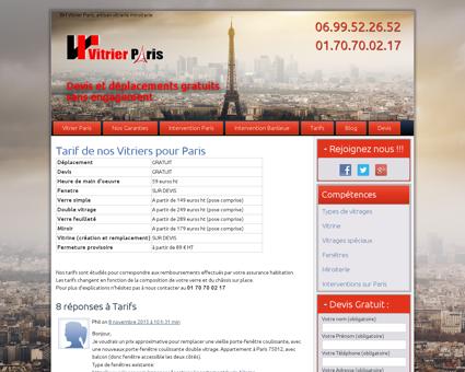 Tarif vitrerie et vitrier Paris | 01-70-70-02-17