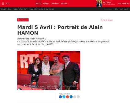 L heure du crime mardi 5 avril portrait  Alain