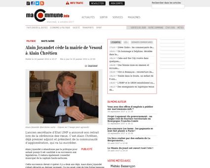 Alain joyandet cede la mairie de vesoul  Alain
