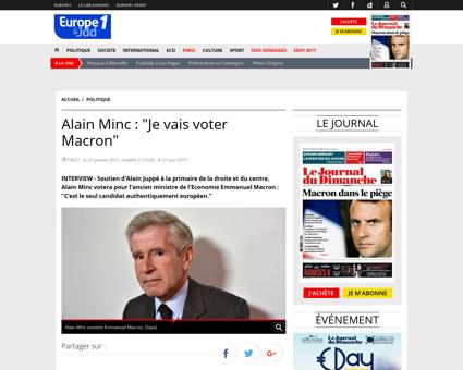 Alain Minc Je vais voter Macron 841450 Alain
