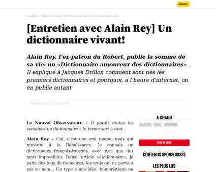 Entretien avec alain rey un dictionnaire Alain