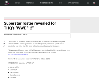 Thq wwe 12 roster reveal september Alicia