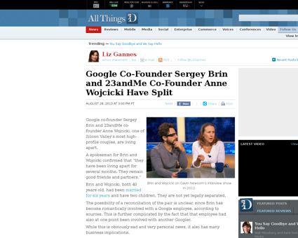 Google co founder sergey brin and 23andm Anne