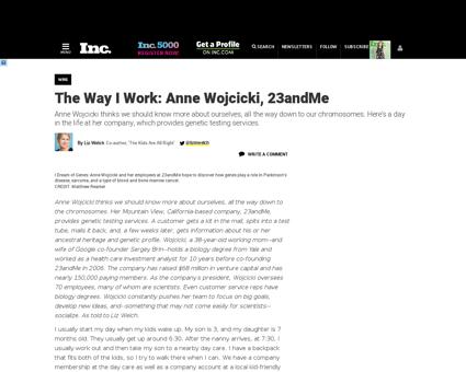 The way i work anne wojcicki 23andme Anne
