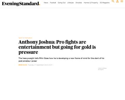 Anthony joshua pro fights are entertainm Anthony