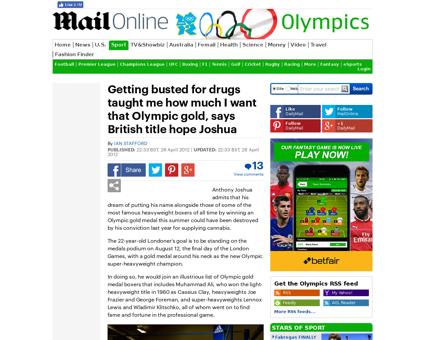 LONDON 2012 OLYMPICS Boxing hope Anthony Anthony