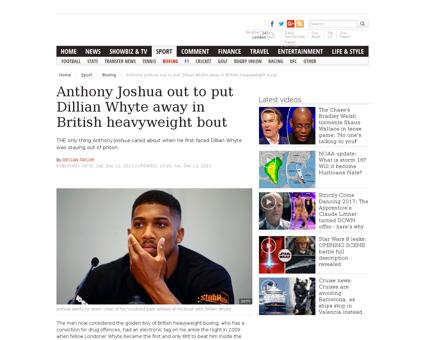 Anthony Joshua Dillian Whyte British hea Anthony