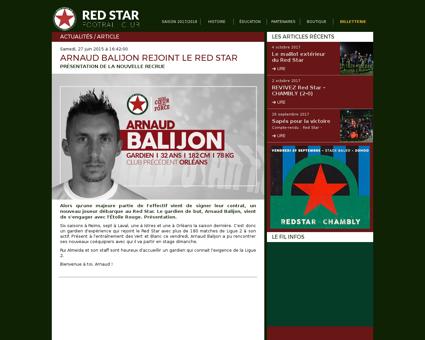 Arnaud balijon rejoint le red star Arnaud