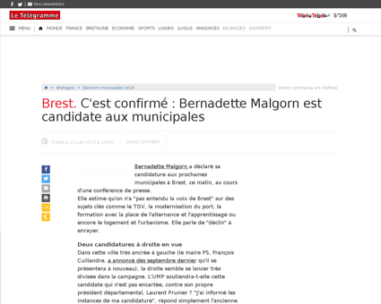 Brest c est confirme bernadette malgorn  Bernadette