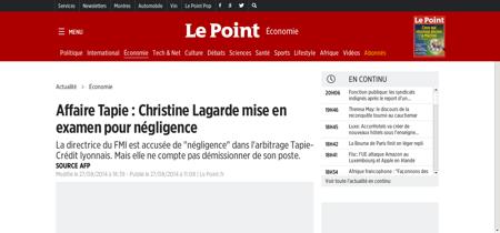 Affaire tapie christine lagarde mise en  Christine