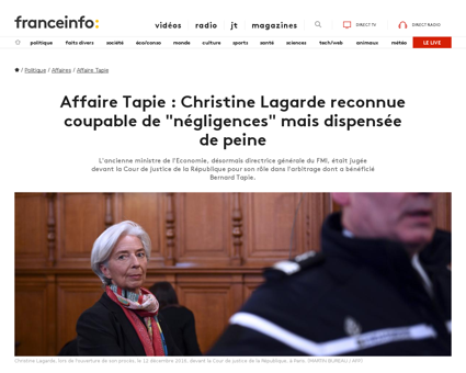 Affaire tapie christine lagarde est reco Christine