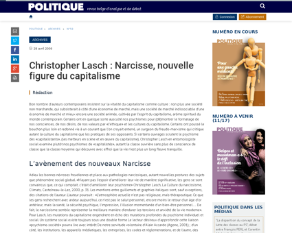 Christopher lasch narcisse nouvelle figu Christopher