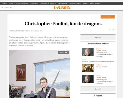 Christopher Paolini fan de dragons  EG   Christopher