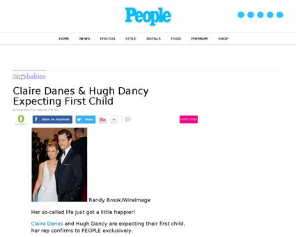 Claire danes hugh dancy expecting first  Claire