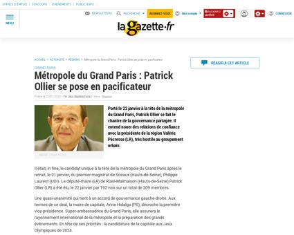 Metropole du grand paris patrick ollier  Claude