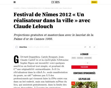 Festival de nimes 2012 un realisateur da Claude
