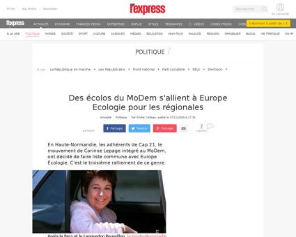 Des ecolos du modem s allient a europe e Corinne