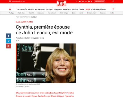 Cynthia premiere epouse de John Lennon e Cynthia