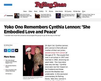 Yoko ono remembers cynthia lennon she em Cynthia