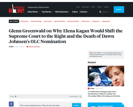Glenn greenwald on why elena kagan Elena