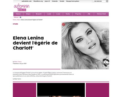 Elena Lenina devient l egerie de Charlot Elena