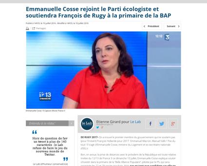 Emmanuelle cosse rejoint le parti ecolog Emmanuelle