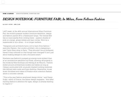 Design notebook furniture fair in milan  Fabien