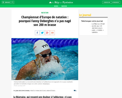 Championnat d europe de natation pourquo Fanny