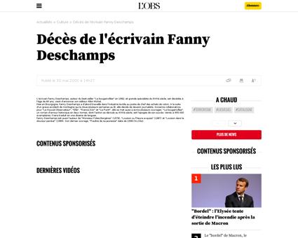 Deces de l ecrivain fanny deschamps Fanny