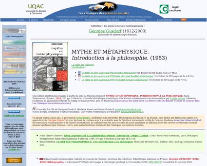 Mythe et metaphysique Georges